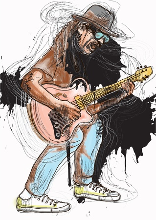 Guitarist, whole body and soul  A hand drawn illustration converted into of an excellent guitar player Stock Vector - 17846289