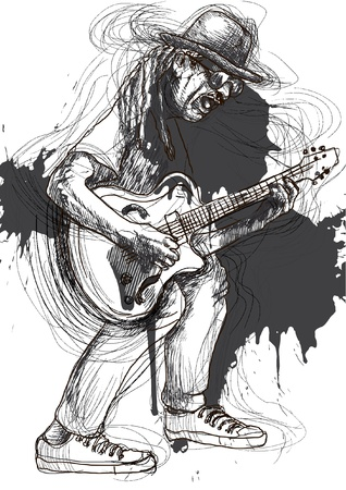 Chitarrista, tutto il corpo e l'anima Un'illustrazione disegnata a mano convertito in di un eccellente chitarrista Archivio Fotografico - 17853116