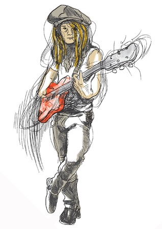 young guitar player - a hand drawn illustration converted into vector