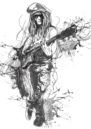 masters of rock: young guitar player - a hand drawn illustration converted into vector