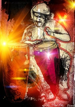 Afro-caraibici ritmi batterista appassionato Archivio Fotografico - 17853083
