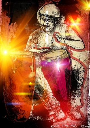 Afro-Caribbean rhythms from passionate drummer   photo