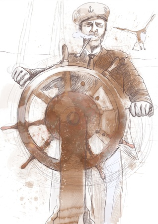 old boat: sea captain, the leader - a hand drawn illustration
