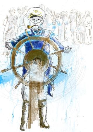 sea captain, the leader - a hand drawn illustration Stock Illustration - 18064357
