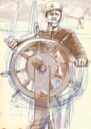 zeekapitein, de leider - een hand getekende illustratie omgezet in vector