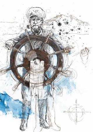 ruder: Kapit�n zur See, der F�hrer - eine Hand gezeichnete Illustration in Vektor umgewandelt