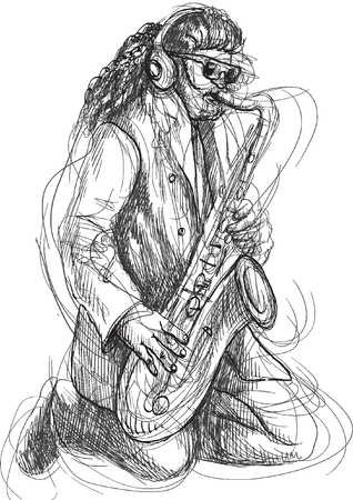 masters of rock: saxophonist - a hand drawn illustration Illustration
