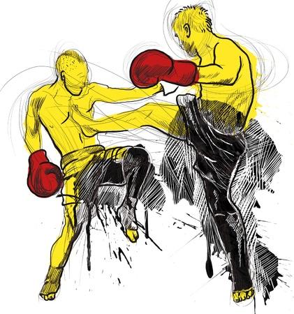 Muay Thai  combat martial art from Thailand  - Kickboxing Stock Photo - 18045288