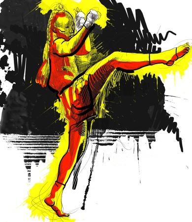 self training: Muay Thai  combat martial art from Thailand  - Kickboxing Stock Photo