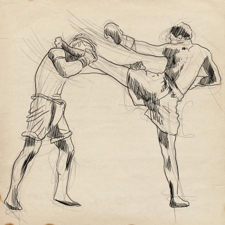 Muay Thai  combat martial art from Thailand  - Kickboxing Stock Photo - 18045298