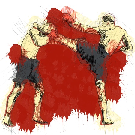 Muay Thai  combat martial art from Thailand  - Kickboxing Stock Photo - 18045287