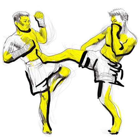 art of eight limbs: Muay Thai  combat martial art from Thailand  - Kickboxing Stock Photo