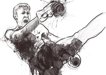 Muay Thai  combat martial art from Thailand  - Kickboxing Stock Photo - 18045285