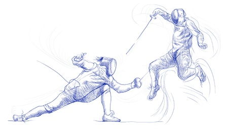 duel: Fencing duel  Full-sized  original  hand drawing