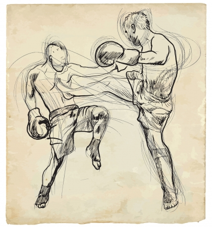 fine arts: Muay Thai  combat martial art from Thailand  - Kickboxing Illustration
