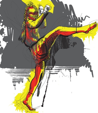 art of eight limbs: Muay Thai  combat martial art from Thailand  - Kickboxing Illustration