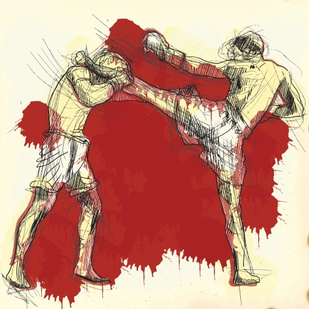 fight arena: Muay Thai  combat martial art from Thailand  - Kickboxing Illustration