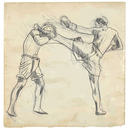 Muay Thai  combat martial art from Thailand  - Kickboxing Illustration