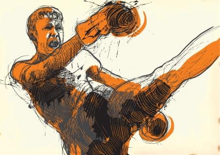 Muay Thai  combat martial art from Thailand  - Kickboxing Stock Vector - 18181926