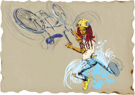 Young girl showing off freestyle trick with her bicycle   Vector