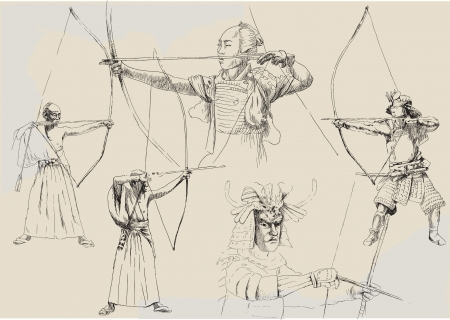 martial ways: samurai collection - hand drawings  Illustration
