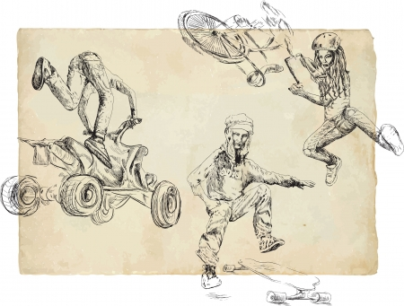 Summer sports collection - On a bike, ATV and skateboard  Vector
