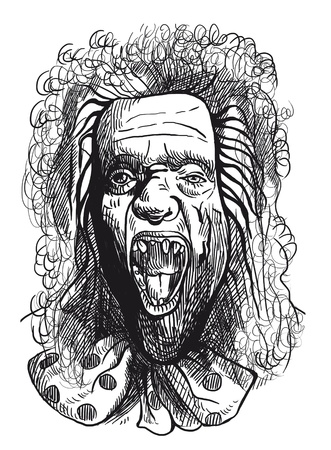 disheveled: The picture on the theme of underground comics  German-Austrian supernatural talking head from the Crypt