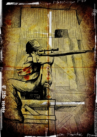 The picture on the theme of underground comics - German para sniper from the Crypt photo
