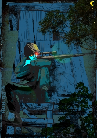crypt: The picture on the theme of underground comics - German para sniper from the Crypt