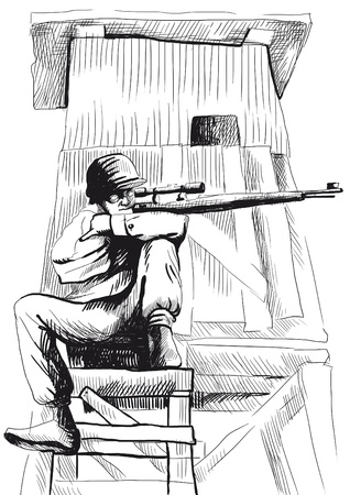 comix: The picture on the theme of underground comics - German para sniper from the Crypt
