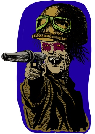 crypt: The picture on the theme of underground comics - German soldier from the Crypt