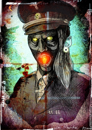 crypt: The picture on the theme of underground comics - German officer from the Crypt Stock Photo