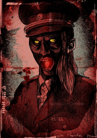 comix: The picture on the theme of underground comics - German officer from the Crypt Stock Photo