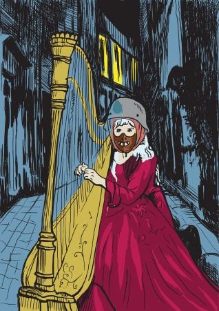 cripta: Immagine vettoriale sul tema del fumetto underground - tedesco Valkyrie di mezzanotte Vettoriali