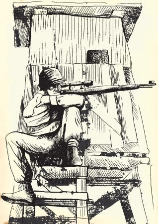 cripta: Sniper dall'oltretomba Un disegno a mano convertito in vettore