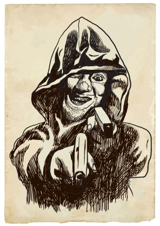 cripta: Psycho assassino Conor jr - Immagine vettoriale sul tema del fumetto underground Vettoriali