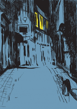 gloomy: mystical city street at night - drawing into vector