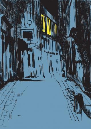 gruselig: mystische Stadt Stra�e bei Nacht - Zeichnung in Vektor Illustration