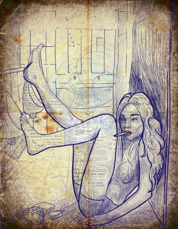 see weed: Smokers - An hand drawn illustration of young woman in underwear in the men s toilet, leaning feet on urinal and smokes a cigarette
