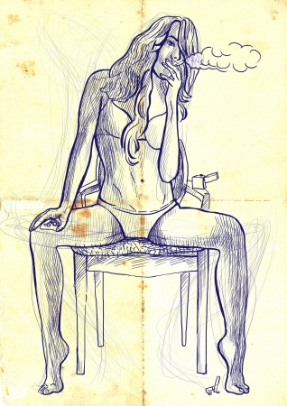 see weed: An hand drawn illustration of young woman sitting on a chair and smoking a cigarette  Stock Photo