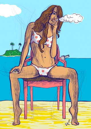 see weed: Smokers - An hand drawn illustration of young woman smoking a cigarette on the chair