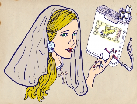 provoke: An hand drawn illustration of young girl, like a nun, elegantly smoking a cigarette