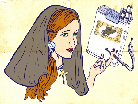 see weed: An hand drawn illustration of young girl, like a nun, elegantly smoking a cigarette