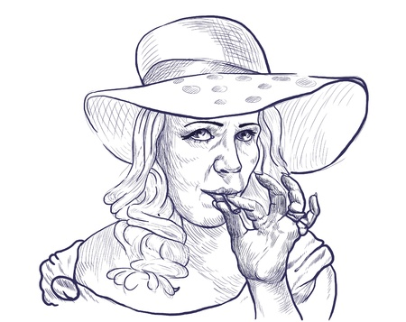 see weed: Smokers - An hand drawn illustration of lady from the higher social strata rest coyly smokes marijuana joint