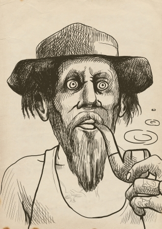 An hand drawn illustration of tough guy in a hat smoking a pipe and makes the puffs of smoke