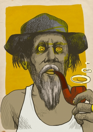 comix: An hand drawn illustration of tough guy in a hat smoking a pipe and makes the puffs of smoke