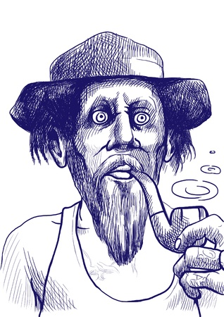 comix: Smokers - An hand drawn illustration of tough guy in a hat smoking a pipe and makes the puffs of smoke  Stock Photo