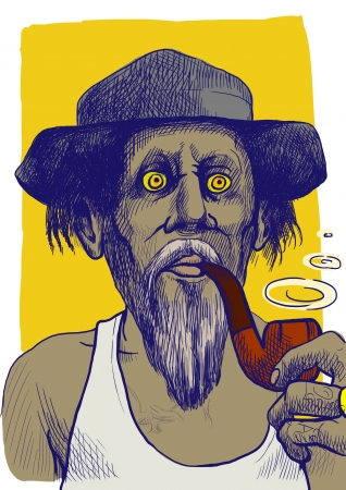 Smokers - An hand drawn illustration of tough guy in a hat smoking a pipe and makes the puffs of smoke  Stock Photo