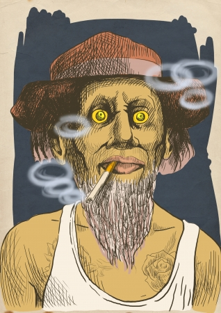 An hand drawn illustration of tough guy in a hat smoking a strong cigarette  illustration