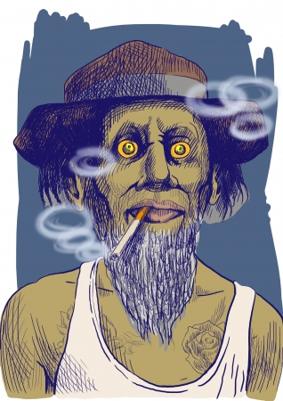 smokers: Smokers - An hand drawn illustration of tough guy in a hat smoking a strong cigarette